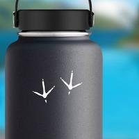 Bird Footprints Sticker on a Water Bottle example