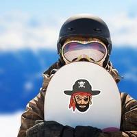 Blackbeard Pirate Mascot Sticker on a Snowboard example