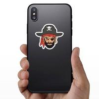 Blackbeard Pirate Mascot Sticker on a Phone example