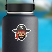 Blackbeard Pirate Mascot Sticker on a Water Bottle example