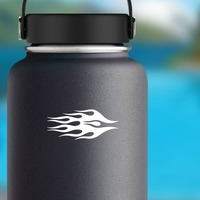 Blazing Flames Sticker on a Water Bottle example