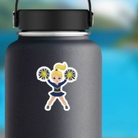 Blonde Blue and Yellow Cheerleading Sticker on a Water Bottle example