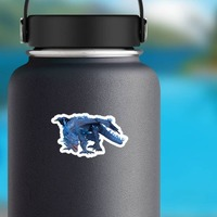 Blue Crystal Dragon Sticker on a Water Bottle example