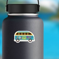 Blue Love and Peace Hippie Van Sticker on a Water Bottle example