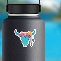 Blue Skull with Feathers and Flowers Hippie Sticker on a Water Bottle example