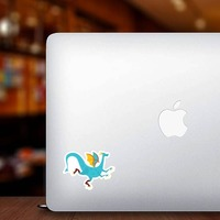 Blue Spotted Dragon Sticker on a Laptop example