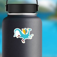 Blue Spotted Dragon Sticker on a Water Bottle example