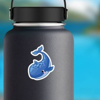 Blushing Blue Whale Sticker on a Water Bottle example