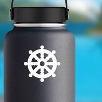 Boat Steering Wheel Sticker on a Water Bottle example