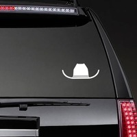 Braided Cowboy Hat Sticker on a Rear Car Window example