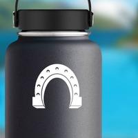 Brawny Horseshoe Sticker on a Water Bottle example