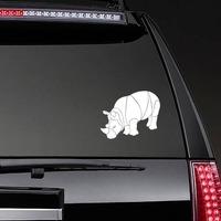 Brawny Rhinoceros Sticker on a Rear Car Window example