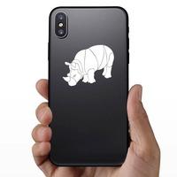 Brawny Rhinoceros Sticker on a Phone example