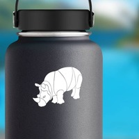 Brawny Rhinoceros Sticker on a Water Bottle example