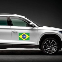 Brazil Flag Magnet on a Car Side example