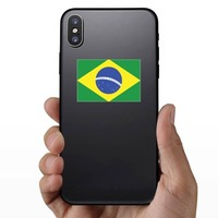 Brazil Flag Sticker on a Phone example