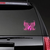 Breast Cancer Ribbon Butterfly Sticker on a Rear Car Window example