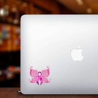 Breast Cancer Ribbon Butterfly Sticker on a Laptop example