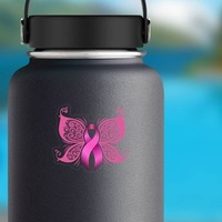 Breast Cancer Ribbon Butterfly Sticker on a Water Bottle example