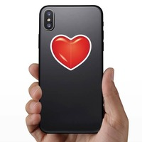 Bright Red Heart Sticker on a Phone example