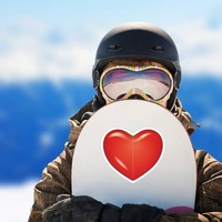 Bright Red Heart Sticker on a Snowboard example