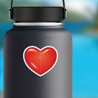 Bright Red Heart Sticker on a Water Bottle example