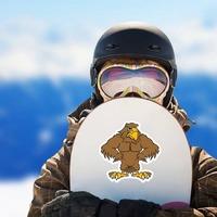 Buff Hawk Mascot Sticker on a Snowboard example
