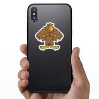 Buff Hawk Mascot Sticker on a Phone example