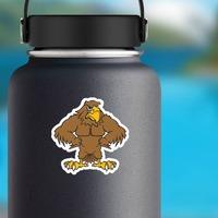 Buff Hawk Mascot Sticker on a Water Bottle example