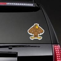 Buff Hawk Mascot Sticker on a Rear Car Window example