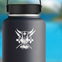 Bull Skull With Spears Feathers And Fire Sticker on a Water Bottle example