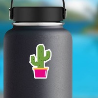 Cactus Hippie Sticker on a Water Bottle example