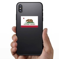 California Ca State Flag Sticker on a Phone example