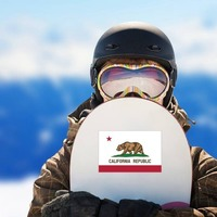California Ca State Flag Sticker on a Snowboard example
