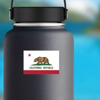 California Ca State Flag Sticker on a Water Bottle example