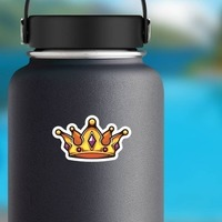 Cartoon Crown with Amethyst Sticker on a Water Bottle example