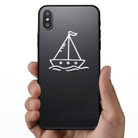 Cartoon Sail Boat Sticker on a Phone example