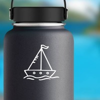 Cartoon Sail Boat Sticker on a Water Bottle example