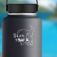 Cartoon Tyrannosaurus Rex Dinosaur Sticker on a Water Bottle example