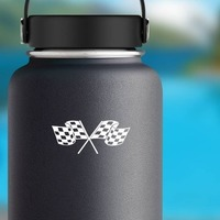 Checkered Racing Flags Sticker on a Water Bottle example