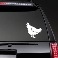 Chicken Eating Sticker on a Rear Car Window example