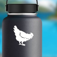 Chicken Eating Sticker on a Water Bottle example