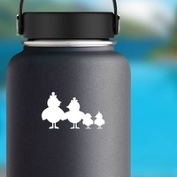 Chicken Family Sticker on a Water Bottle example
