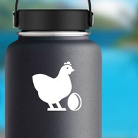 Chicken With Egg Sticker on a Water Bottle example