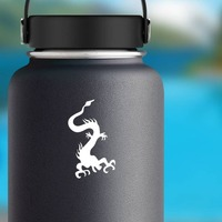 Chinese Dragon Flying Down Sticker on a Water Bottle example