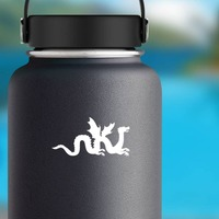 Chinese Dragon With Wings Sticker on a Water Bottle example