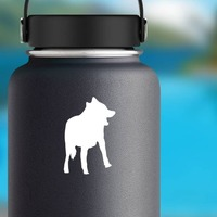 Clever Wolf Coyote Sticker on a Water Bottle example