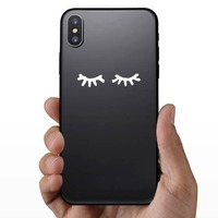 Closed Eyes Sticker on a Phone example