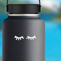 Closed Eyes Sticker on a Water Bottle example