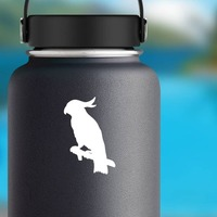 Cockatoo On A Branch Sticker on a Water Bottle example